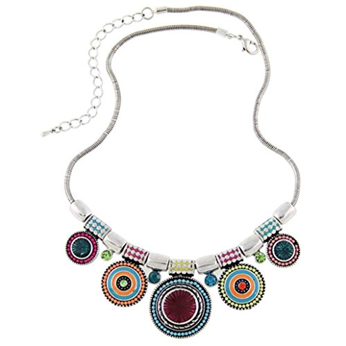 Usstore 1PC Women Choker Necklace Fashion Ethnic Vintage Plated Colorful Bead Pendant Stat Alloy Gift (Green ) -