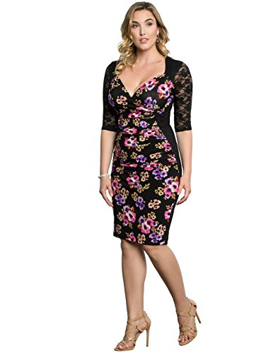 Kiyonna Women's Plus Size Stop and Stare Ruched Dress 1X Midnight Bouquet