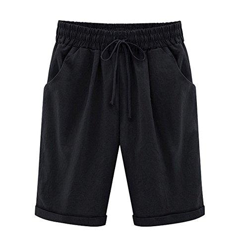 Hot Sale Farjing Plus Size Casual Women Cotton Linen Pants Elastic Waist Summer Slim Lady Pants(3XL,Black) -