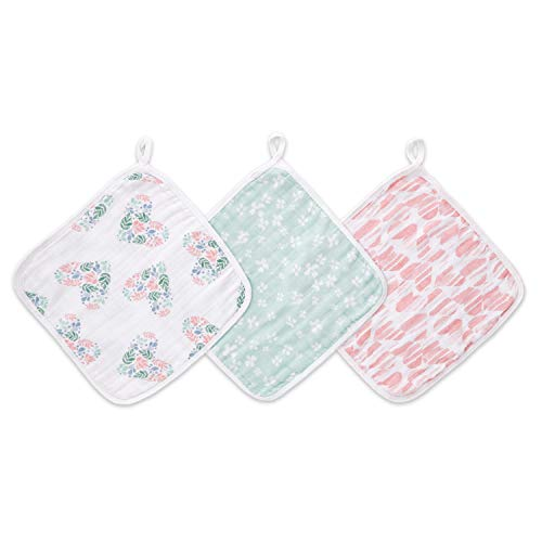 (aden by aden + anais washcloth Set, 100% Cotton Muslin, 3 Pack, Briar)
