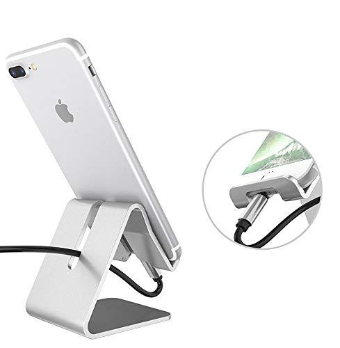 Cellphone Holder for Desk Tablet Smartphone Stand Portable Aluminum Silver