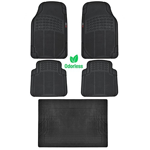Bdk black 5 piece set premium heavy duty odorless mats for for Motor trend floor mats review