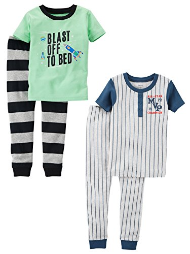 Carter's Baby Boys' 4-Piece Cotton Pajamas, Space/Sports, 12 Months ()
