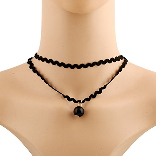 Winter's Secret Choker Retro Wool with Wavy Sexy Black Lace Ultrashort Double Chain Necklace (Rust Dark Pendant Mini)