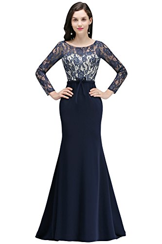 Babyonlinedress Mermaid Lace Long Sleeve Formal Evening Gowns(Navy Blue,6)
