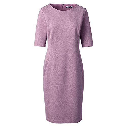 213cc6f1 Lands' End Women's Plus Size Ponte Knit Sheath Dress with Elbow Sleeves,  22W,