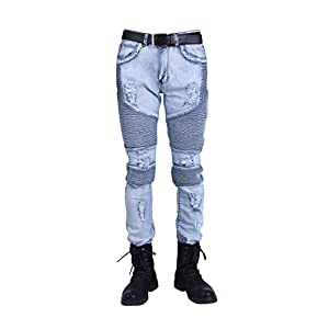 Idopy Men`s Hipster Hip Hop Distressed Ripped Washed Denim Biker Jeans with Knee Zipper
