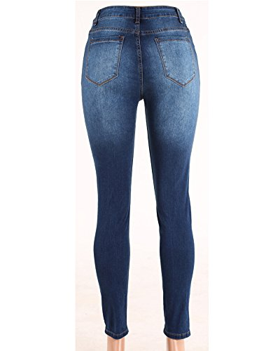 Donna Stretch Come Strappati Jeans Pantaloni Distrutto Immagine Matita Coulisse Skinny Casual BgAFBZ6
