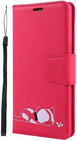iPhone 11 Pro Max 2019 Case, 3D Shockproof Wallet Notebook Phone Case Embossed Cute Cat PU Leather Flip Cover with Magnetic Closure Stand Card Holder Slot Folio TPU Bumper Protective Skin red