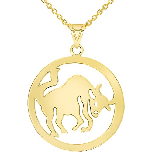 Solid 14k Yellow Gold Round Taurus Zodiac Sign Bull Disc Pendant Necklace with Rolo Chain, 18