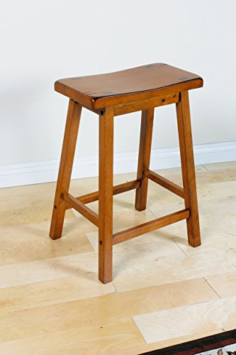 - ACME 0 Set of 2 Gaucho Stool, Oak Finish, 24