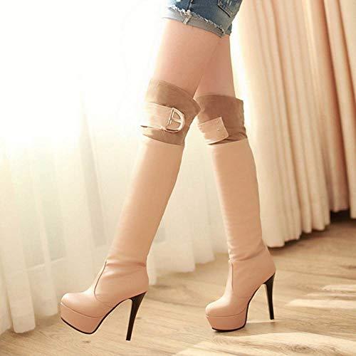 Over Heel The Taoffen Knee Stiletto Apricot Boots High Women pfnZaqI