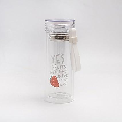 Zantec Botella de agua de cristal portátil, infusor del té del café del estilo de