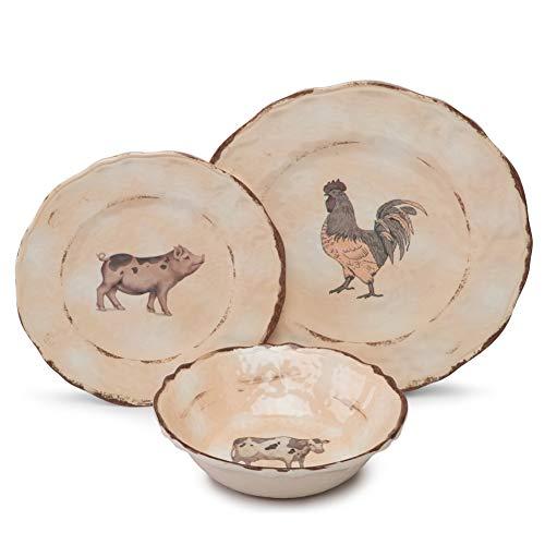 Melamine Dinnerware Set for 4-12pcs Camping Dishes Set for Outdoor Indoor Use, Dishwasher Safe, Break-Resistant, Animal Pattern by Yinshine