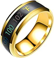 Elegant Couple Rings Fashion New Physical Intelligent Induction Temperature Couple Ring Mood Display Ring Magi