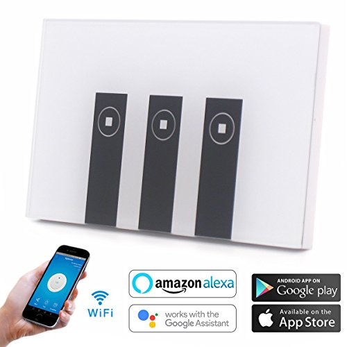 Atoparts WIFI Smart Wall Light Home Switch 3 Gang Wireless in Wall Glass Touch Panel Plate Compatible with Alexa Echo Google Home ,Remote Control Your Fixtures From Anywhere(3 Switches in 1 Gang Box)