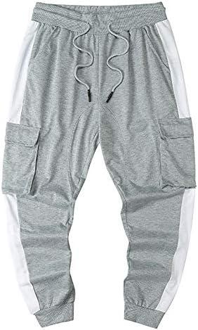 Uni Clau Mens Sports Jogger Cargo Pants - Side Tape Drawstring Waist Sweatpants Flap Pocket Trousers for Men