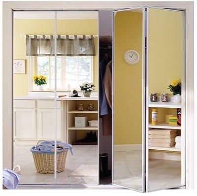 HOME DECOR INNOVATIONS 24 8278 STEEL FRAMED BI FOLD MIRROR DOOR WHITE X 80 1 2