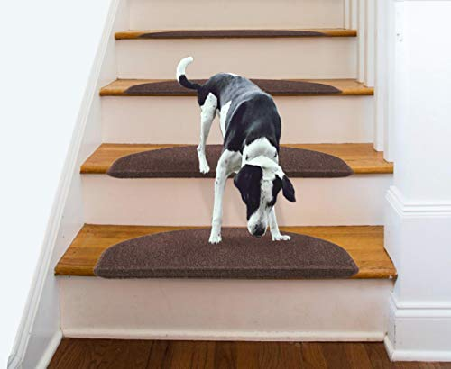 - Aucuda Comme Rug Non-Slip Brown Tread Bullnose Carpet Indoor Durable Mat Self Adhesive Protectors for Dogs and Kids Set of 13 Modern Stair Cover for Hard Floor Staircase 9Inch x 26 Inch