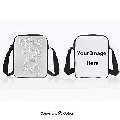 Polyester Anti-Theft Cross-Body Bag Unisex Adult Positive Family Themed Message Happiness Hand Writing Calligraphy Inspiration Light Grey White Zipper Bucket Anti Theft Bag For Journey