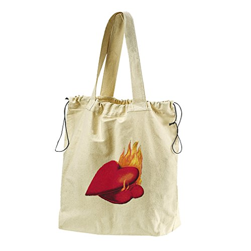 Couples Of Hearts On Fire Valentines Day Canvas Drawstring Beach Tote Bag by Style in Print