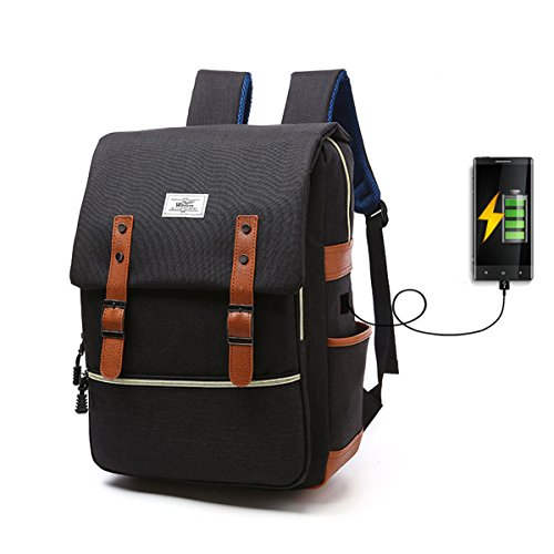 Vintage Canvas Business Laptop Backpack,Tezoo Multifunction