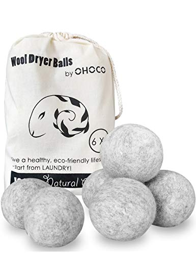 OHOCO Wool Dryer Balls 6 Pack XL, Organic Natural Wool for Laundry, Fabric Softening - Anti Static, Baby Safe, No Lint, Odorless and Reusable Gray