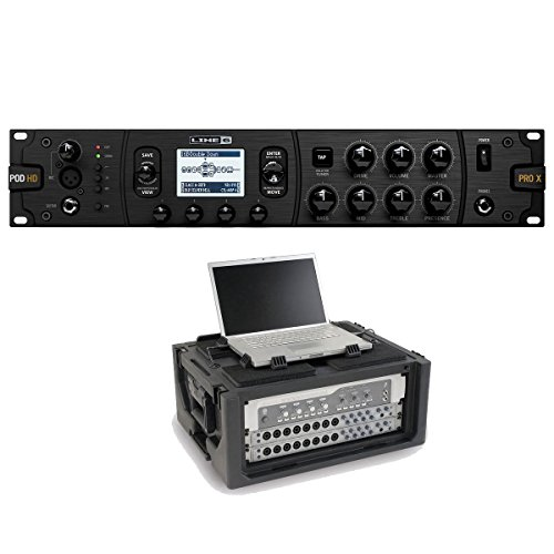 Line 6 POD HD Pro X Multi-Effects Processor With SKB Studio Flyer Portable 4U Rack by Line 6