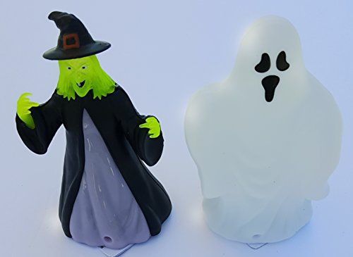 Homemade Halloween Haunted House (Halloween Fall Spooky Creepy Haunted House Kids Teen Toddlers LED LIGHT UP Ghost and Witch Set of 2)