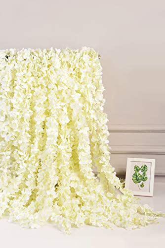 AlphaAcc White Artificial Silk Wisteria Flower Hanging Garland Home Wedding Party Decor, Pack of 5