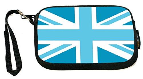 (Rikki Knight Pale Blue British Flag - Neoprene Clutch Wristlet Coin Purse with Safety Closure)