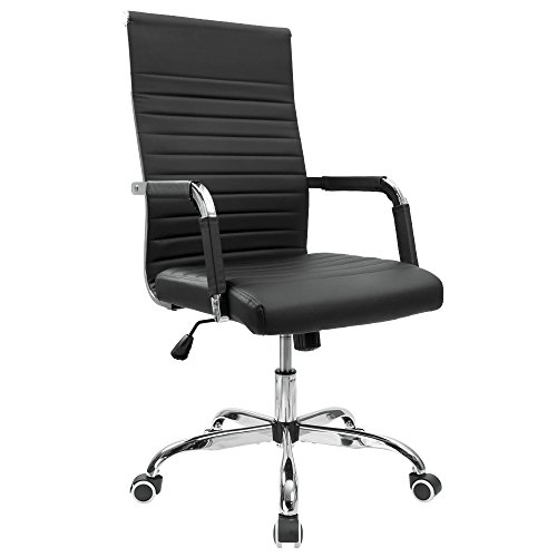 Mid Back Executive Leather Chair (Furmax Ribbed Office Chair Mid-Back PU Leather Executive Conference Chair Adjustable Swivel Chair With Arms (Black))