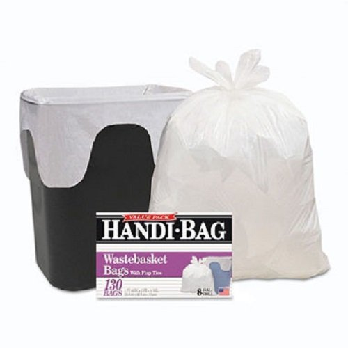 Handi-Bag : Handi-Bag Super Value Packs, 8 Gallon, .55mil, 21-1/2 x 24, White, 130 -:- Sold as 1 BX