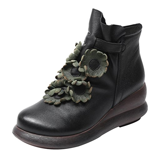 Mordenmiss Mujeres Front Daisy Platform Botas Flower Mid Wedge Ropa De Invierno Negro