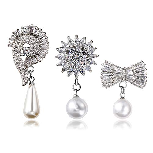 - Jovivi 3pcs Clear Cubic Zirconia Crystal Silver Flower Feather Butterfly Safety Pin Brooches Suit Sweater Scarves Scarf Brooch Charm