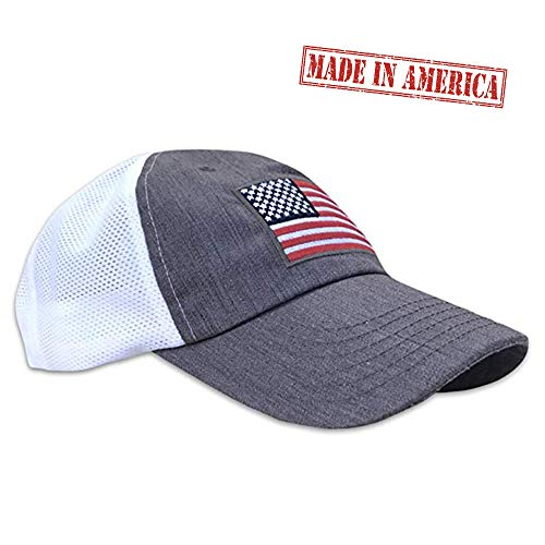 American Flag Unstructured Range Day Mesh Back Hat Heather Gray ()