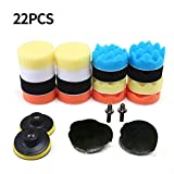 Aolvo Car Waxer Polisher Buffer Pads, Car Polish Set Car Foam Drill Polishing Pad Kit 22 PCS for Auto Car Sanding, Buffing, Waxing, Sealing Glazing with Thread Drill Adapter 3'' 88MM