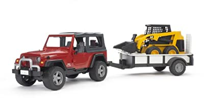 Bruder Jeep Wrangler With Tow Trailer And 02435 Skid Steer Loader by Bruder