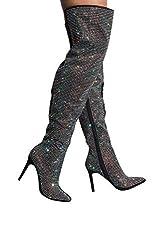 Rhinestone Stripe Front Thigh High Stiletto Boots