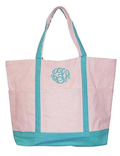 vas Natural Boat Bag Tote with Color Trim - Custom Available (Seafoam - Monogram) (Custom Beach Bags)