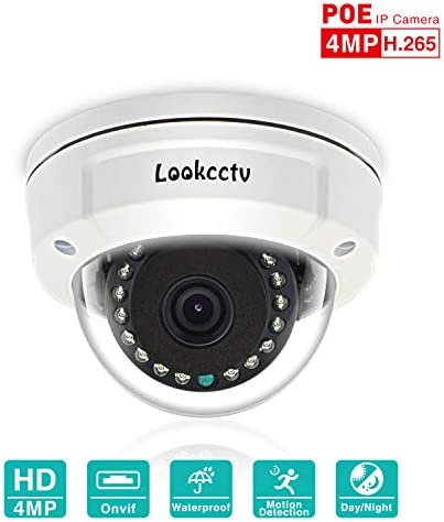 lookcctv Security Dome Camera 4MP POE Vandal-Proof Home Security Camera 45ft 15 LEDs IR-Cut Night Vision Home Surveillance System Camera