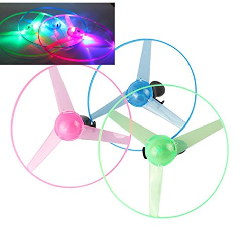 Livoty Funny Kids Toy Colorful Pull String UFO LED Light Up Flying Saucer Disc Gift (Random) ()