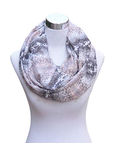 - SAFERIN Soft Sheer Lightweight Infinity Scarf for Women Loop Circle Scarves (SY-Grey)