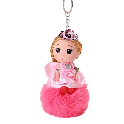 DDLBiz 8CM Cute Doll Keychain Pendant Women Key Ring Holder Pompoms Key Chains (Watermelon Red)