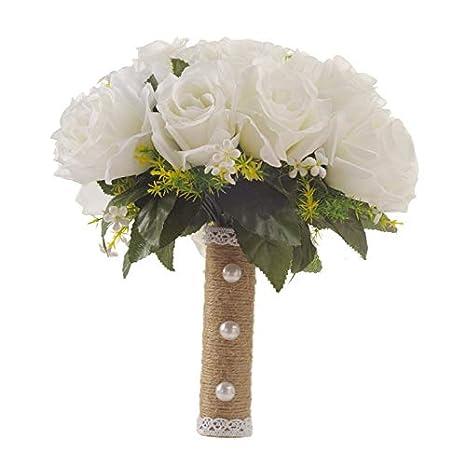 Amazon.com: Rockitch Ramo de novia, rosas blancas con cuerda ...