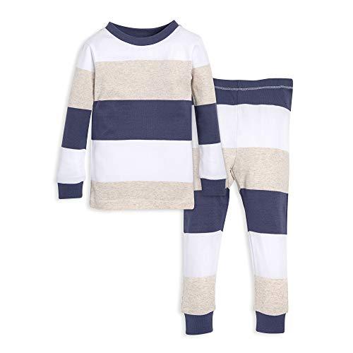 Burt's Bees Baby Unisex Baby Pajamas, Tee and Pant 2-Piece PJ Set, 100% Organic Cotton, Blue Jumbo Stripe, 18 -