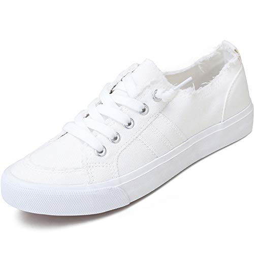 Women's Play Fashion Sneaker White Color Washed and Leopard Canvas Slip on Shoes(White,US11)