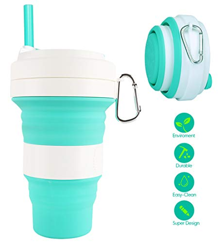 Idealife Collapsible Silicone Cup - Drinking Cup Foldable Cup with 3 Adjustable Capacities, BPA Free, Portable Folding Cup for Travel Camping Hiking Office, Max Up to 550ml (Green)