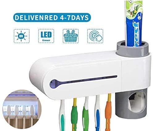 Vitorhytech 【UK STOCK】 Newest UV Toothbrush Holder Sanitizer,Toothbrush Sterilizer Holder with Toothpaste Dispenser & 5 Toothbrush Slots, Wall Mounted UV Light Toothbrush Holder for Bathroom,White