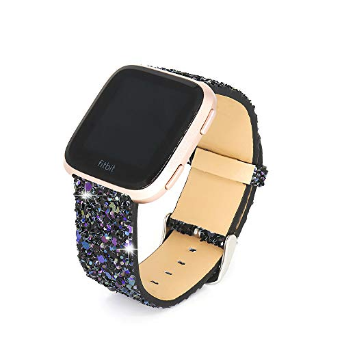 UniqeStyle Compatible Fitbit Versa/Fitbit Blaze Bands ,Fashion Slim Glitter Bling Leather Band Replacement Strap Women Men For Fitbit Versa Lite/Versa SE/Fitbit Blaze Smart Watch (Black) ()